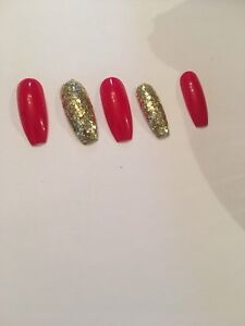 Image Is Loading Set Of Painted Red And Gold Glitter Long