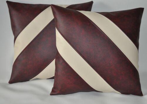 """2 Rouge Foncé /& Crème diagonale Rayures en cuir synthétique housses de coussin 16/"""" 18/"""""""