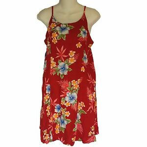 ad3ff975 Image is loading Tiki-Palm-Dress-Large-Mini-Spaghetti-Straps-Hawaiian-