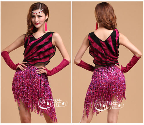 Latin Dance Dress Sequins Ballroom Dancing for Women Latin Dance Costumes Tango