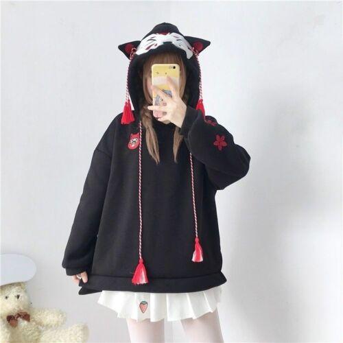 Damen Mädchen Japanisch Katze Kapuzenpullover Pullover Top Kawaii Harajuku Süß