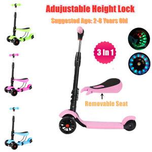 Kids Child Kick Push Scooter 3 Wheels LED Flashing Boys Girls Scooter With Seat