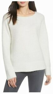 Chelsea28 Womens Sweater White Size XL Ribbed Crew-Neck Knitted Pullover $79 110