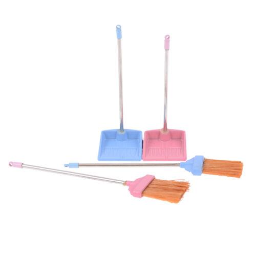 1:12 Dollhouse metal long handles broom and dust pan set SN