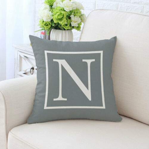 Letter A-Z Print Sofa Back Cushion Thrown Pillow Cover Case Home Decorative