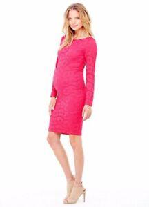 Ingrid & Isabel Maternity Long Sleeve Stretch Lace Dress Medium 8 10 Occasion