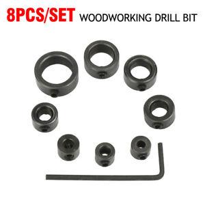 8Pcs Woodworking Drill Bit Depth Stop Collars Ring Positioner Drill Locator