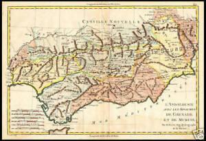 Cartina Stradale Spagna Del Sud.Carta Geografica 1700 Spagna Andalusia Granada Mursia Ebay