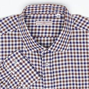 Luciano-Barbera-Mens-Shirt-XXL-Brown-Blue-White-Check-Plaid-Cotton-Button-MOP