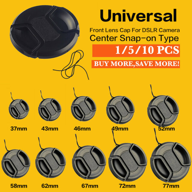 Center Pinch Snap On Front Lens Cap Cover 49-77mm For Canon Nikon Sony String