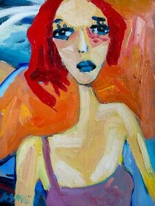 "Original Art Portrait Oil Painting on Framed Canvas 12"" x 9"""