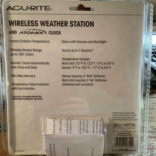 Acurite Wireless Weather & Atomic Clock Station Model 00739