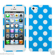iPhone 5 Snap-On Hard Case Cover Accessory Blue White Polka Dots