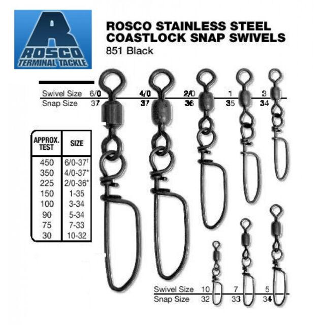 ROSCO BLACK COASTLOCK SNAP SWIVEL Size 5-90lb Test Pack of 2 Swivels RCS-5BL