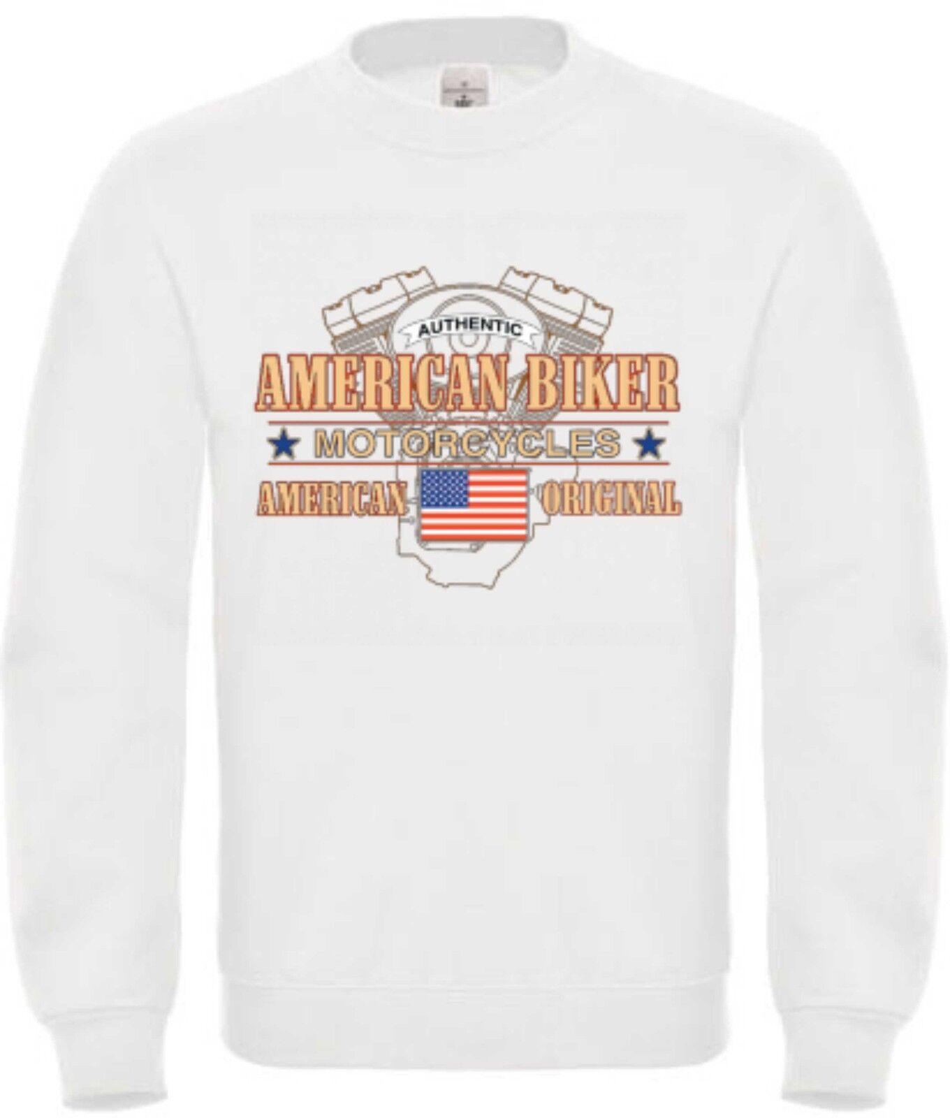 Sweatshirt weiß HD V Twin Biker Chopper&Oldschoolmotiv Modell American Biker