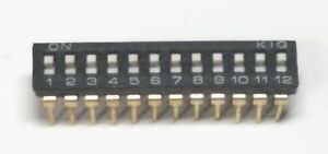 12 Way DIP Switch - Black - Slide Type 12x2 Position - 24 Pin  - Free P&P