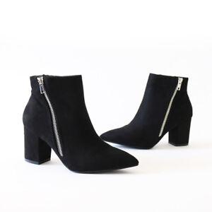 bcd4280f56f Sleek Chic Vegan Suede Silver Metal Zip Covered Block Heel Ankle ...