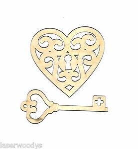 Key-to-Heart-2-Pcs-Unfinished-Wood-Shape-KH8734-Crafts-Lindahl-Woodcrafts