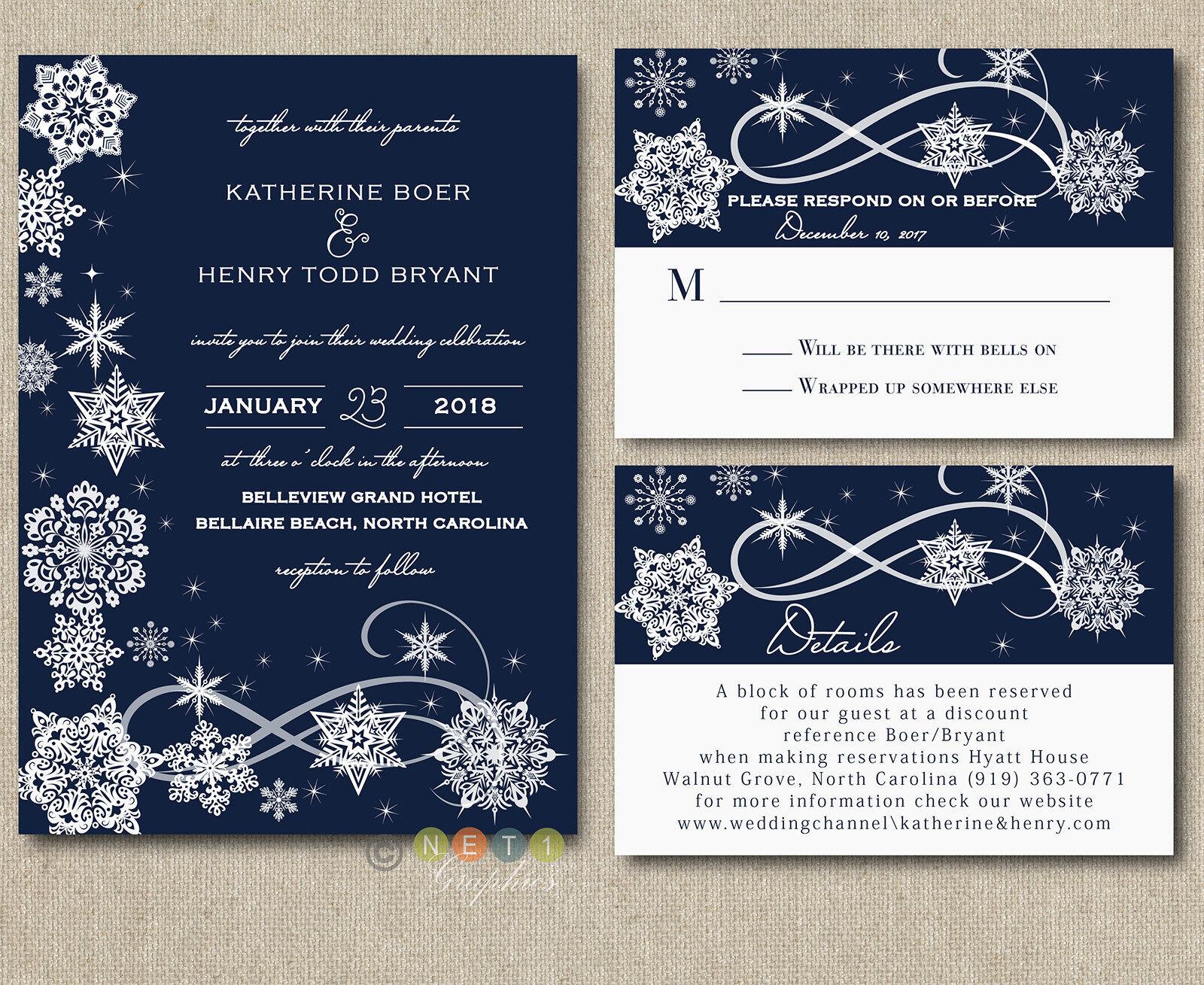 100 Personnalisé Hiver Flocon de Neige Bleu Marine Mariage Invitation suite avec enveloppes