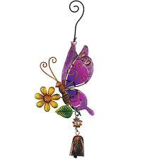 Purple Butterfly Ornament Glass Metal Hanging Bell NEW door chime garden flower