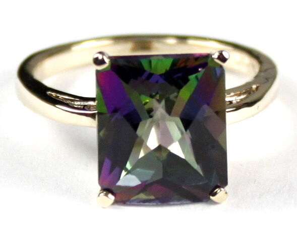 Mystic Fire Topaz Solid 10KY or 14KY gold Ladies Ring R054-Handmade