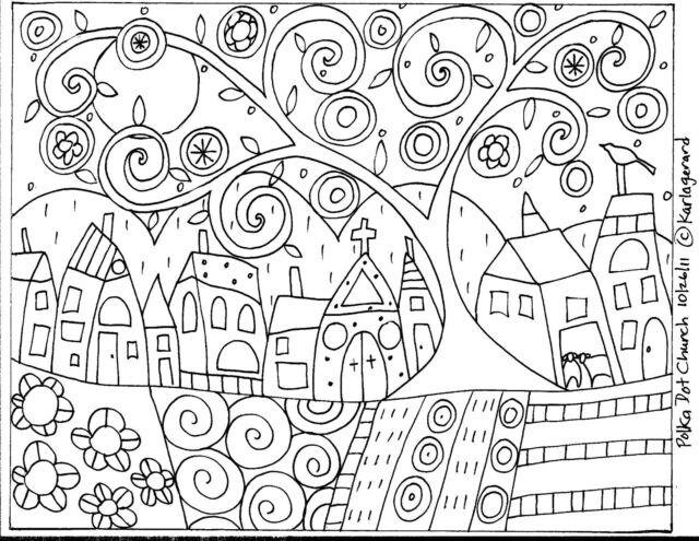 RUG HOOK CRAFT PAPER PATTERN Polka Dot Church FOLK ART PRIMITIVE Karla Gerard
