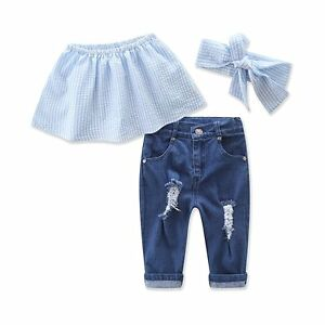 2e05eb4ac70d 3PCS Toddler Kids Baby Girls Outfits T-shirt Tops Dress+Jeans Pants ...