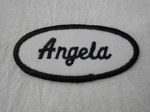 ANGELA  USED EMBROIDERED VINTAGE SEW ON NAME PATCH TAG ASSORTED COLORS
