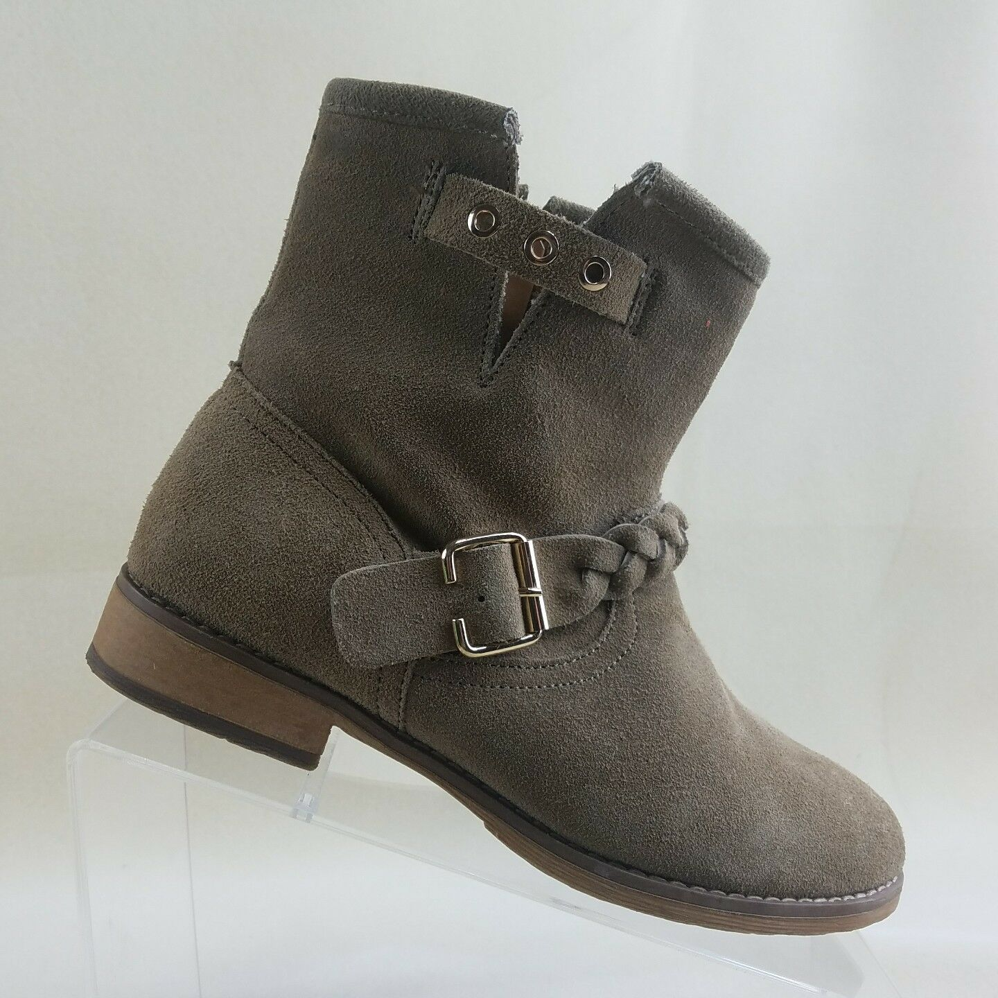 Skechers Womens Size 6.5 Tan Side Zip Ankle Boots Booties Suede  #B78