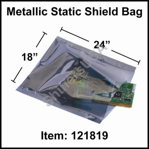 100 3-mil Metallic Static Shield Bag 18x24 Silver Open Top Lay Flat 121819