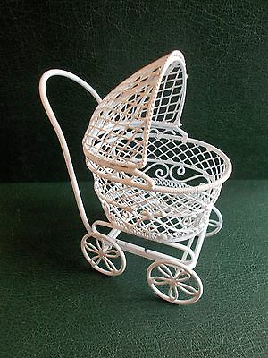 1/12th Scale. Dolls House. White Wire Pram.