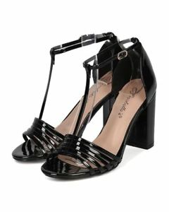 12da985aace314 Details about Breckelles Aniston-17 Black Patent PU Open Toe T-Strap Block  Heel Retro Sandal