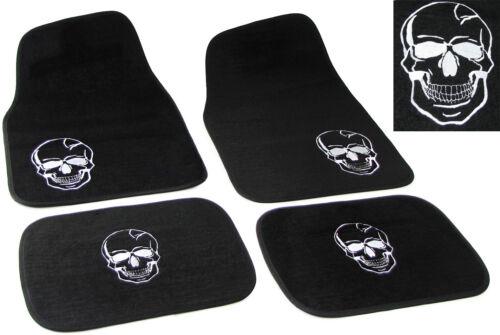Universal PKW KFZ Auto Fußmatten Totenkopf schwarz  Set 4-teilig