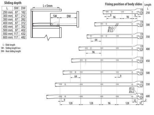 Runners Bottom Fix Metal White L:350mm 10pairs Roller Drawer Slides