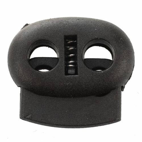 1X 20 Pcs 2 Holes 3.6mm Drawstring Cord Locks Spring Toggles Black M4C9