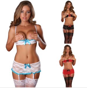 5a9b8360ee1 Women Sexy S-4XL Plus Size Lace Open Cup Shelf Bra Garter Belt+G ...