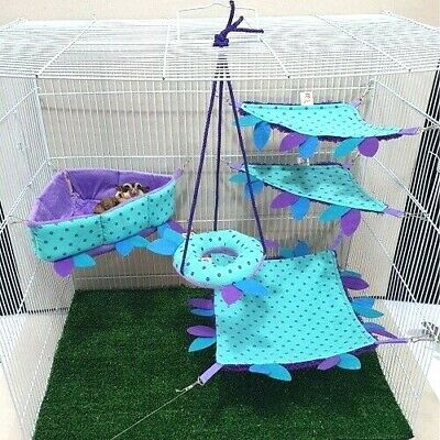 Sugar Glider Cage Set*Toy* Two Tier  Peek A Swing Ball Pit*NEW