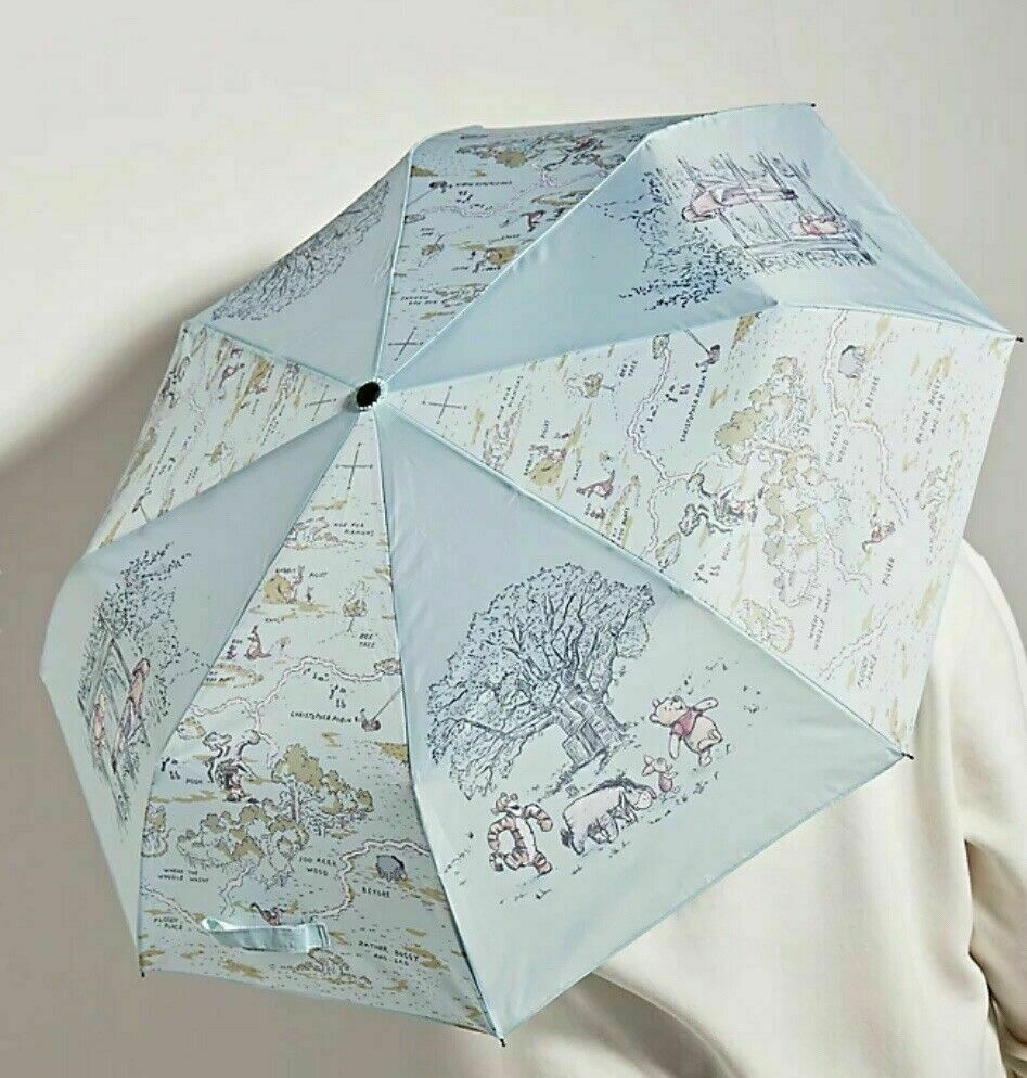 Disney Store Winnie the Pooh Umbrella Christopher Robin Map Sketch Hundred Acre