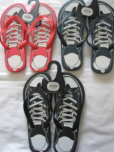 SIZES 3//4 AND 5//6 BLUE OR RED SNEAKER DESIGN FLIP FLOPS IN BLACK BNWT