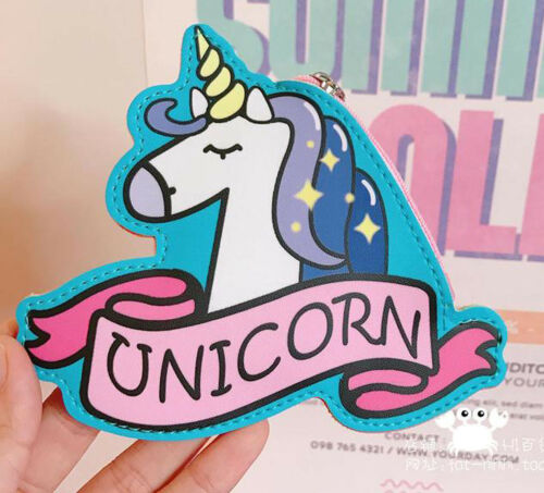 Ladies Girls Magical Unicorn Zip Coin Purse with Key Ring