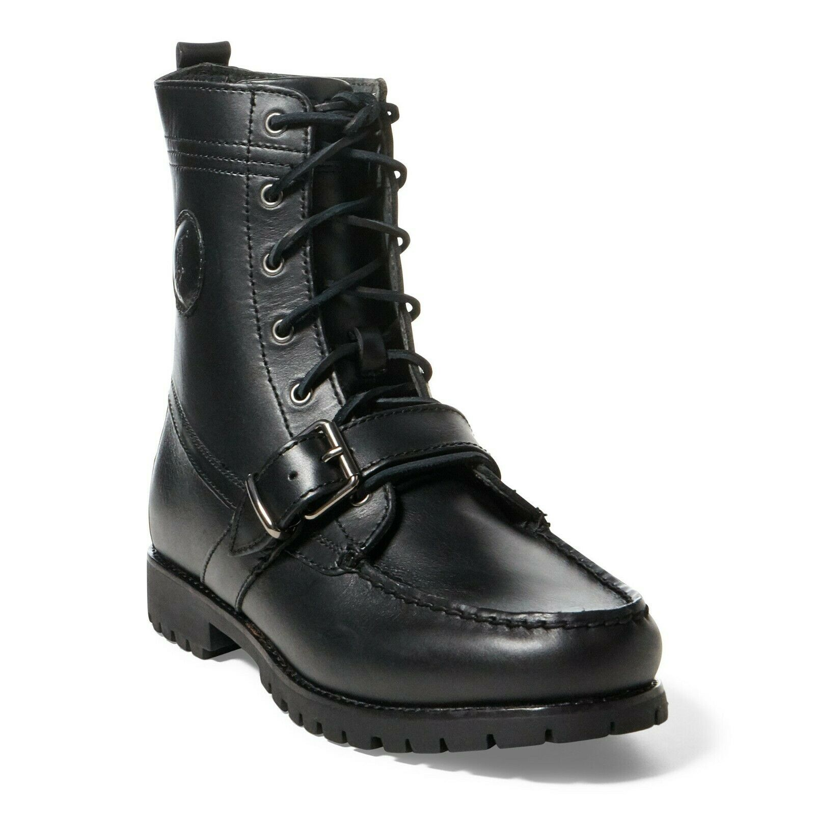 Nuevo Sin Caja Polo Ralph Lauren para hombre botas Hebilla de Cuero Ranger, tamaño 10US, Color Negro