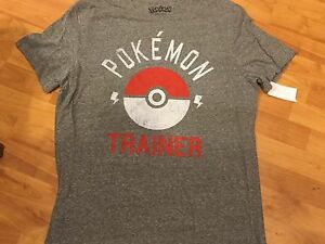 f7ae81ec B20 NEW Pokemon Trainer Licensed Gray Adult MEN'S TEE T-Shirt L ...