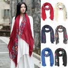 Fashion Women Long Cotton Linen Scarf Wrap Lady Shawl Girl Large Floral Scarves