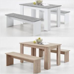 Brilliant Details About German Slumberhaus Dorma Dining Table And 2 Bench Set Oak White Grey Concrete Alphanode Cool Chair Designs And Ideas Alphanodeonline