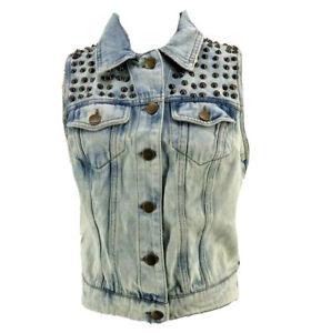 Pistola Women's Blue Cotton Light Wash Studded Denim Vest Size Medium NEW