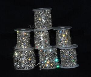 Crystal-Rhinestone-Chain-Silver-Golden-Craft-Trim-Sew-On-DIY-Custom-SS6-SS38