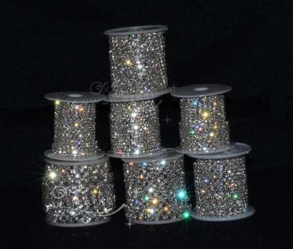 SS6/SS8/SS10/SS12/SS14/SS16/SS18/SS20 888 Crystal Rhinestone Chain Silver/Golden