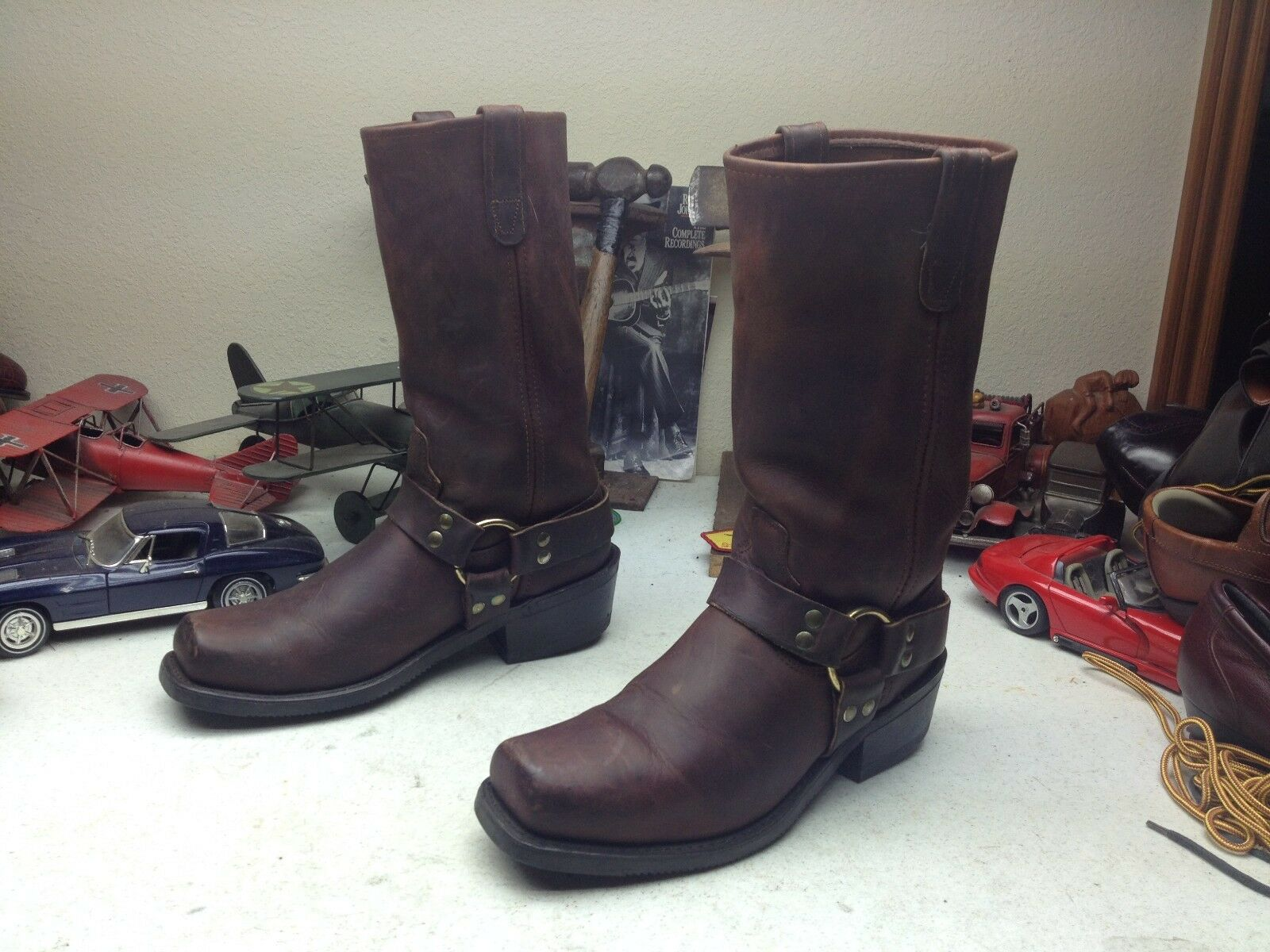 DOUBLE H DISTRESSED Marronee LEATHER SQUARE TOE HARNESS TRAIL BOSS RANCH stivali 9D