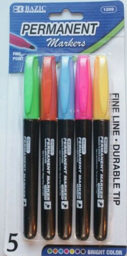 5 Permanent Marker PENS Fine Line Point Tip Texta Fast Dry Color Water Resistant