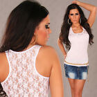 New Sexy Singlet Tank Top with Lace Back Size S/M Size 6 8 10 - White